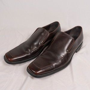 Steve Madden Montee Brown Leather Slip On Loafers